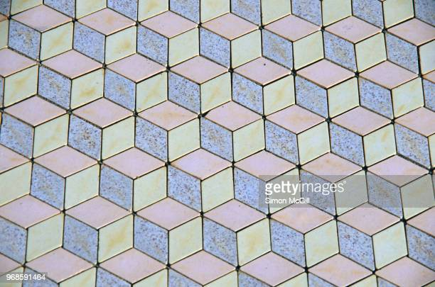 Floor tiles in a pastel blue, pink and yellow 3D-effect isometric cube pattern