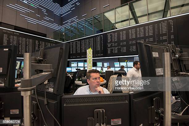 Floor trading at DAX German Stock Exchange in Frankfurt, Germany, 13 May 2013, on a day in which the DAX index went down 60 points by noon.
