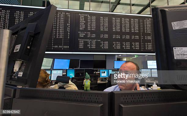 Floor trading at German Stock Exchange in Frankfurt Germany 08 May 2014 on the day of the monthly board meeting and press conference by European...