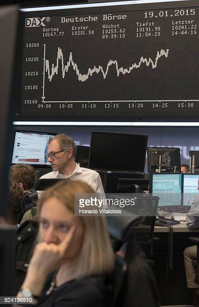 Floor trading at German Stock Exchange in Frankfurt Germany 19 January 2015 A new record value was reached by Frankfurt's DAX 30 index at 1029304...