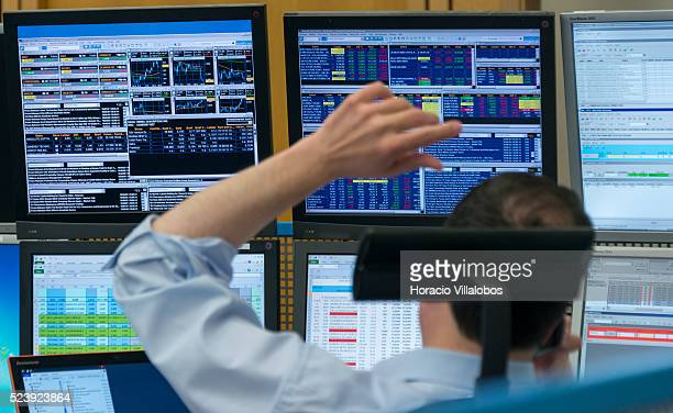 Floor trading at the German Stock Exchange in Frankfurt Germany 29 May 2014 on a day DAX index was again poised to reach 10000 points In the end slow...