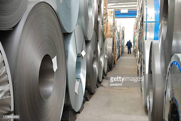 floor with rolls of sheet steel - spiral stock pictures, royalty-free photos & images