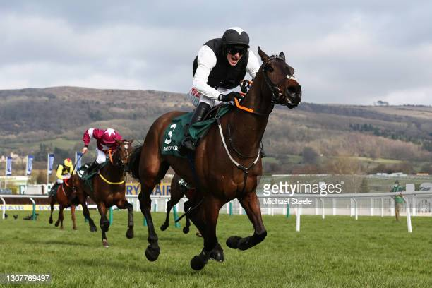 Flooring Porter ridden by Danny Mullins on their way to winning the Paddy Power Stayers' Hurdle during Day Three of the Cheltenham Festival 2021 at...