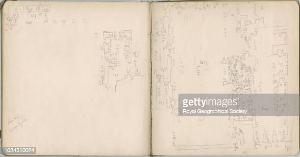 Floorplan sketch of mosque building at Hasankeyf This image is taken from pages 623 of notebook 13 of 15 these contain plans of churches copies of...