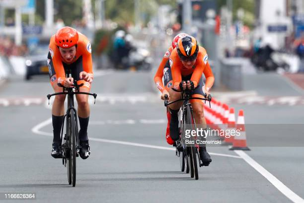 Floortje Mackaij of Netherlands / Riejanne Markus of Netherlands / Amy Pieters of Netherlands / during the 25th UEC Road European Championships 2019...