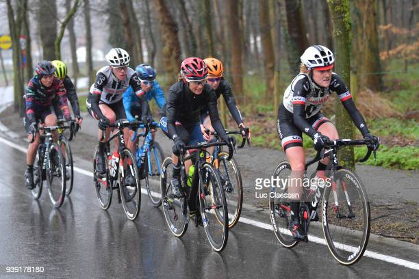 Floortje Mackaij of The Netherlands and Team Sunweb / Ashleigh Moolman Pasio of South Africa and CerveloBigla Pro Cycling Team / Ellen van Dijk of...