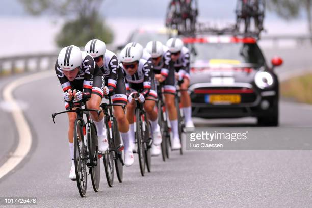 Start / Line Gulliksen of Norway and Team Hitec Products / Warm up / during the 4th Ladies Tour of Norway 2018 a 243km Team Time Trial from Aremark...