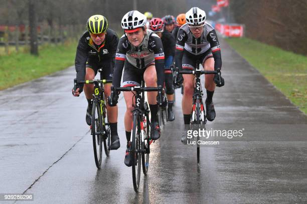Floortje Mackaij of The Netherlands and Team Sunweb / during the 7th Dwars door Vlaanderen 2018 a 1177km women's race from Tielt to Waregem on March...