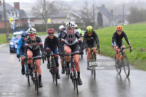 Floortje Mackaij of The Netherlands and Team Sunweb / Ellen van Dijk of The Netherlands and Team Sunweb / Gloria Rodriguez of Spain and Movistar Team...