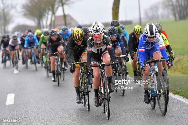 Floortje Mackaij of The Netherlands and Team Sunweb / Jolien D'Hoore of Belgium and Team MitchelsonScott / Victorie Guilman of France and Team FDJ...