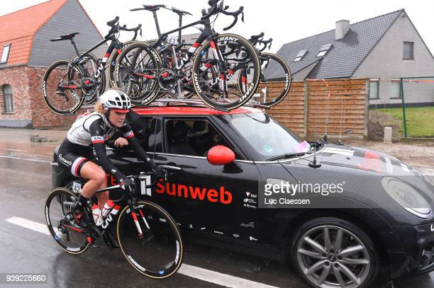 Floortje Mackaij of The Netherlands and Team Sunweb / Mechanic / Car / during the 7th Dwars door Vlaanderen 2018 a 1177km women's race from Tielt to...