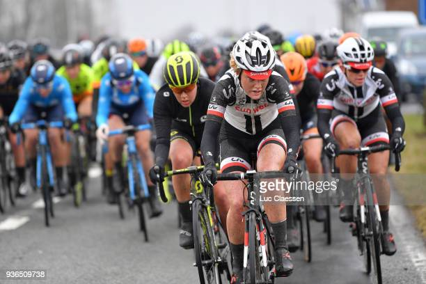Floortje Mackaij of The Netherlands and Team Sunweb / Peloton / Mud / during the 1st 3 Days De Panne 2018 Women's race a 1517km race from Brugge to...