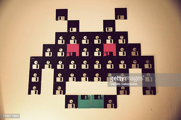 Floppy disks on wall
