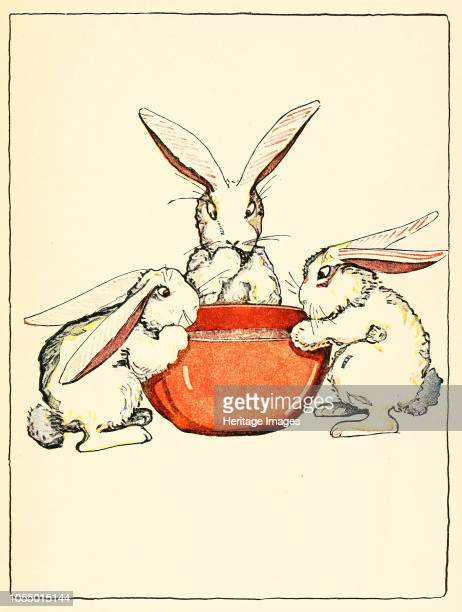 Flopsy, Mopsy, and Cotton-Tail had bread and milk and blackberries for dinner, from The Tale of Peter Rabbit, pub. 1916 , 1916. Artist American...