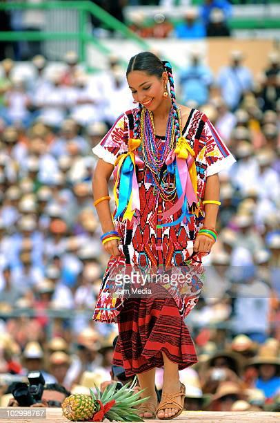 Flor de Pina of San Juan Bautista Tuxtepec perform during the Guelaguetza of Bicentenary at the Benito Juarez Stadium on July 19 2010 in Oaxaca City...