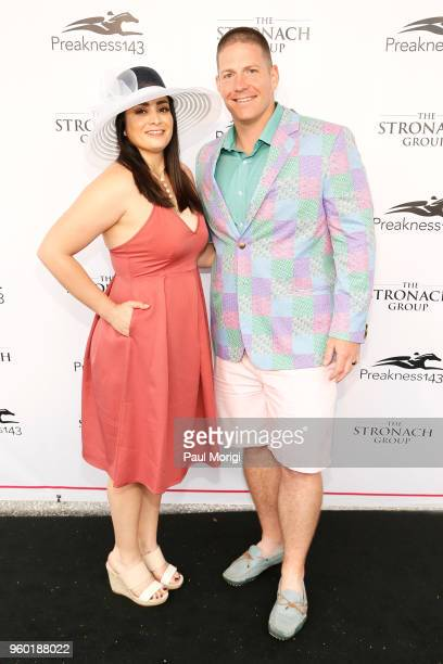 Flor Sundberg and NFL player Nick Sundberg attend The Stronach Group Chalet at 143rd Preakness Stakes on May 19 2018 in Baltimore Maryland