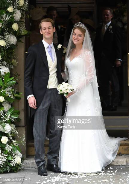 Flora Alexandra Ogilvy and Timothy Vesterberg at their marriage blessing at St James's Piccadilly on September 10, 2021 in London, England.