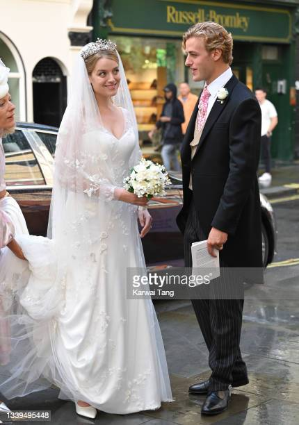 Flora Alexandra Ogilvy arrives for her marriage blessing to Timothy Vesterberg at St James's Piccadilly on September 10, 2021 in London, England.