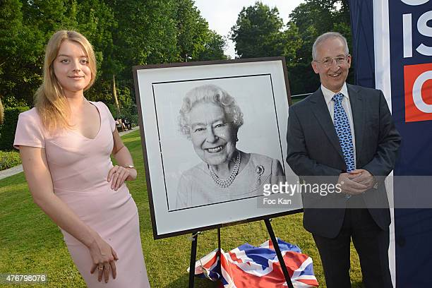 Flora Alexandra Ogilvy from the Royal Family and Great Britain ambassador Sir Peter Ricketts attend the British 'Summer Time 2015' cocktail at the...