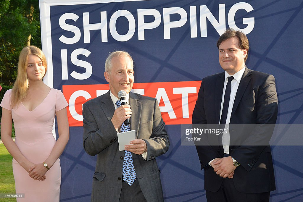 Flora Alexandra Ogilvy from the Royal Family, Great Britain ambassador Sir Peter Ricketts and Comite Faubourg Saint Honore President Benjamin Cymerman attend the British 'Summer Time 2015' cocktail at the British Embassy and shops events Rue du Faubourg Saint Honore on June 11, 2015 in Paris, France.