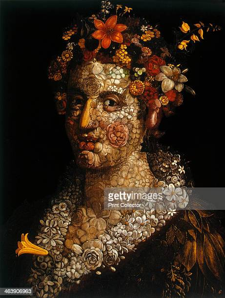 'Flora' c1591 Still life of the head and shoulders of a woman made of flowers From a private collection