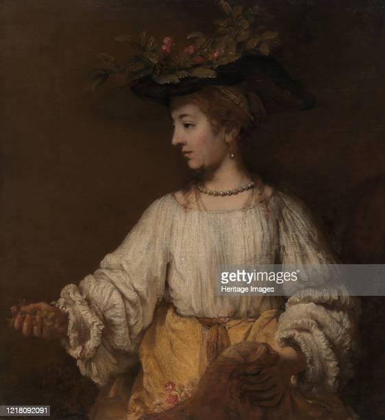 Flora, circa 1654. Based in part on a portrait of the artist?s deceased wife, Saskia. Artist Rembrandt Harmensz van Rijn.