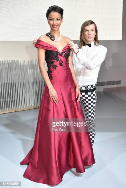 Flora Coquerel and Christophe Guillarme attend the Christophe Guillarme show as part of the Paris Fashion Week Womenswear Fall/Winter 2017/2018 on...