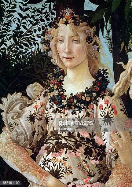 Flora detail from The spring or La primavera c1478 by Sandro Botticelli Galleria degli Uffizi Florence Italy