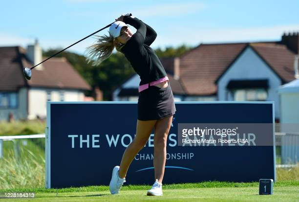 Flora Keites of Royal Jersey GC tees off during a practice round ahead of the Womens Amateur Championship at The West Lancashire Golf Club on August...
