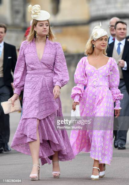Flora Ogilvy and Lady Amelia Windsor attend the wedding of Lady Gabriella Windsor and Thomas Kingston at St George's Chapel on May 18, 2019 in...