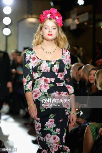 Flora Ogilvy walks the Dolce Gabbana Italian Christmas catwalk show at Harrods on November 2 2017 in London England