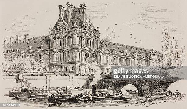 Flora Pavilion Tuileries Palace engraving by Lefebvre based on a drawing by Morin from ParisGuide by leading writers and artists of France Volume 1...