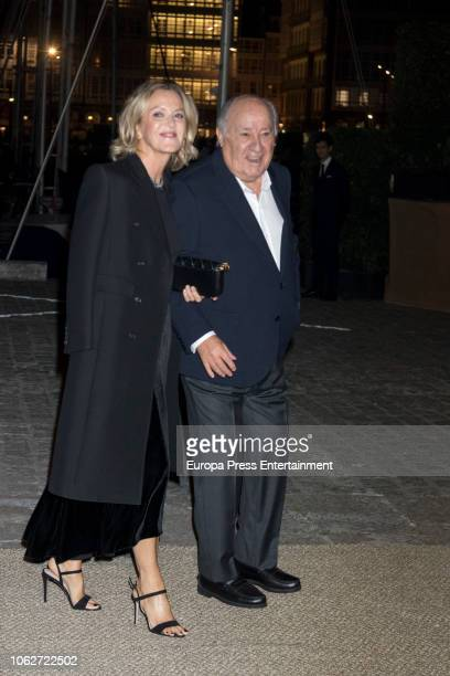 Flora Perez and Amancio Ortega are seen attending Marta Ortega's Wedding preparty at Nautical Club on November 16 2018 in A Coruna Spain