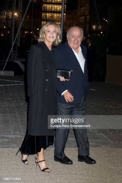 Flora Perez and Amancio Ortega seen attending Marta Ortega's Wedding preparty at Nautical Club on November 16 2018 in A Coruna Spain