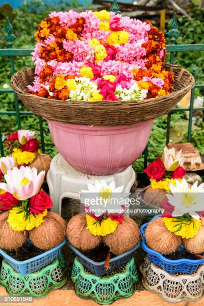 Floral and coconut offerings at the Sri Chamundeswari Temple, Mysore, Karnataka, India