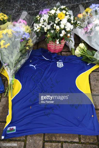 Floral and shirt tributes left at the Fred Keenor statue in memory of former Cardiff City player Peter Whittingham who died aged 35 at Cardiff City...