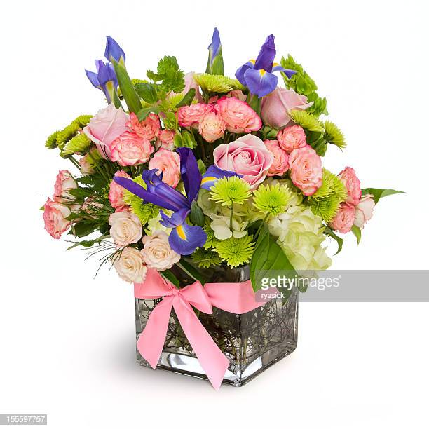 floral arrangement isolated - vase stock pictures, royalty-free photos & images