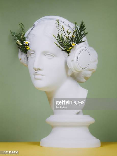 floral collage with greek goddess wearing headphones - mixed media stock pictures, royalty-free photos & images