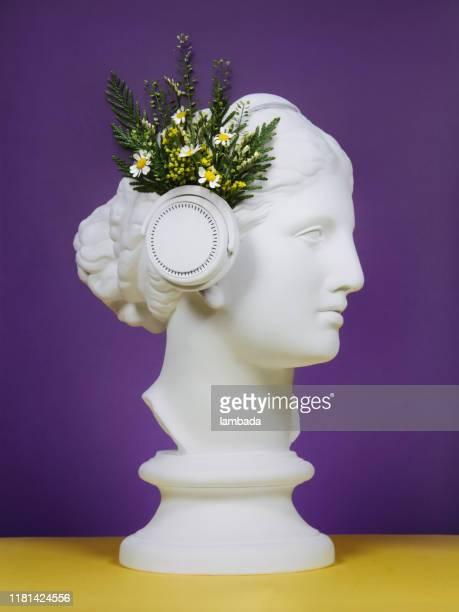 collage floral avec le casque grec de modèle de déesse utilisant - printemps humour photos et images de collection