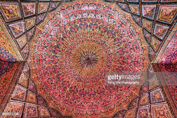 Floral decoration, painted ceiling, Nasir al-Mulk Mosque, Shiraz, Fars Province, Iran