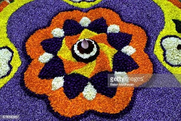 Floral decorations during Onam festival, Kerala, India, Asia