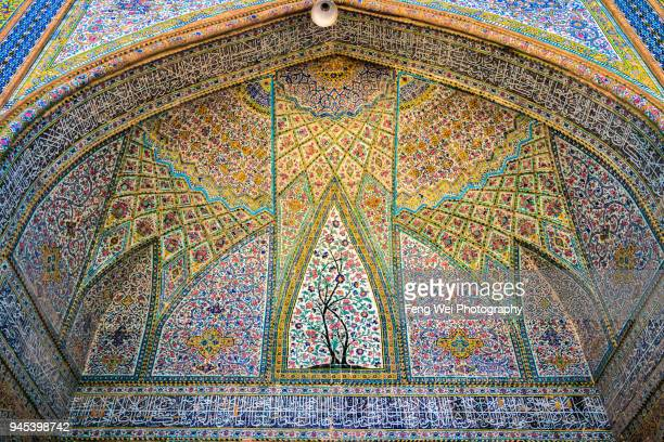 floral decorations, vakil mosque, shiraz, fars province, iran - shiraz stock photos and pictures