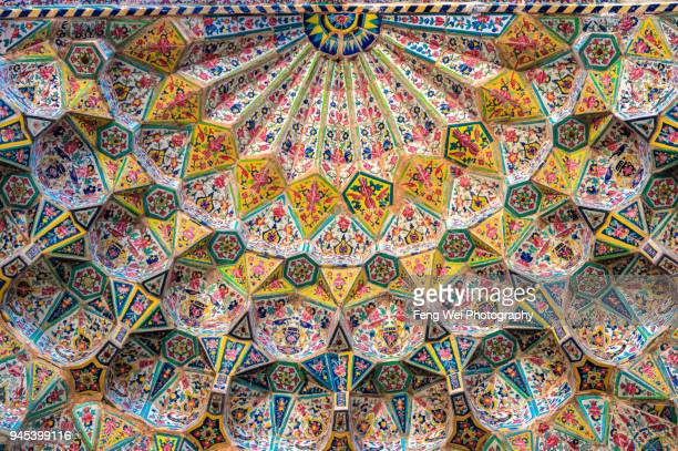 floral decorations, vakil mosque, shiraz, fars province, iran - iranian culture stock photos and pictures