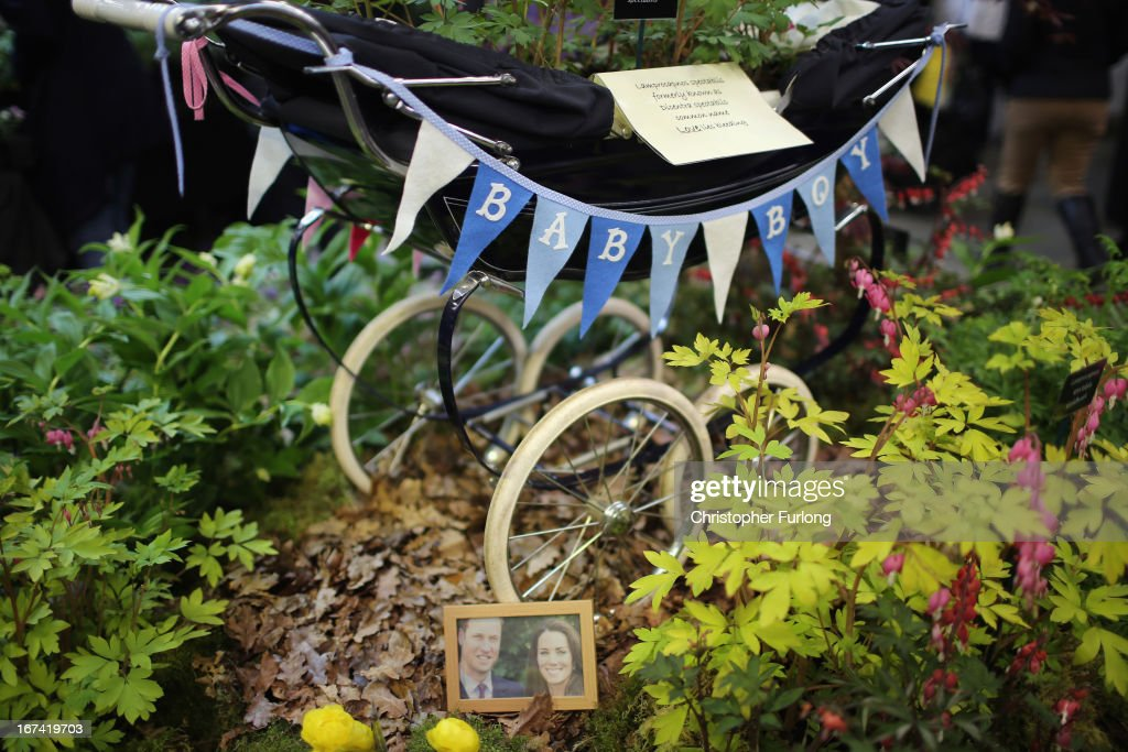 A floral display based around a baby's pram and a photograph of parents to be Catherine, Duchess of Cambridge, and Prince William, Duke of Cambridge, at the Harrogate Spring Flower Show on April 25, 2013 in Harrogate, England. Over 100 nurseries are staging displays of their flowers and plants at the Harrogate Spring Show organised by the north of England Horticultural Society. The premier gardening event of the north attracts thousands of horticulturalists to view it's show gardens and Spring floral displays.