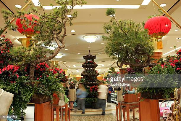 A floral display next to a pagoda is seen inside Macy's March 18 2005 in San Francisco California Macys Union Square store is featuring its 59th...