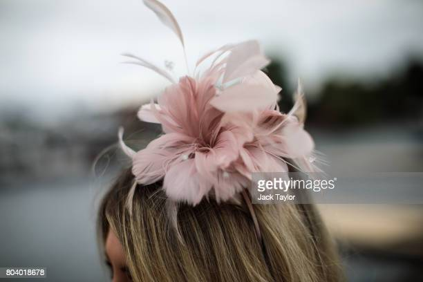 A floral fascinator is worn at the Henley Regatta on June 30 2017 in HenleyonThames England The five day Henley Royal Regatta is now in its 178th...