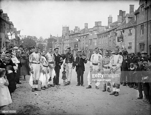 Floral Festival Chipping Campden Gloucestershire c1860c1922 A troup of morris dancers in the street taken during the Floral Festival