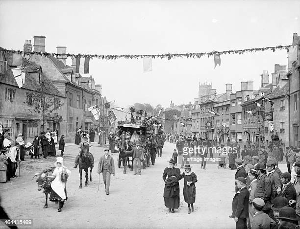 Floral Festival Chipping Campden Gloucestershire c1860c1922 The procession of milkmaids through the town with onlookers part of the Whitsun...
