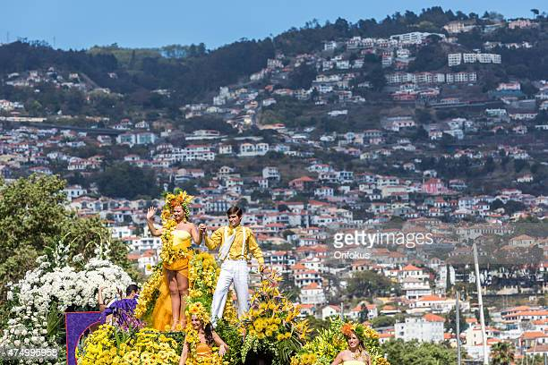 floral float at the madeira flower festival parade, portugal - madeira island stock photos and pictures