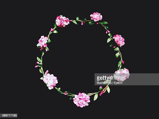Floral Garland On Black Background